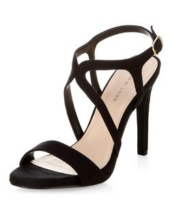 Black Caged Ankle Strap Heeled Sandals | New Look