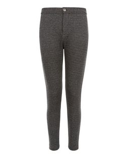 Black High Waisted Disco Jacquard Leggings  | New Look