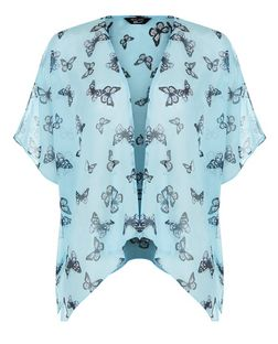 Teens Mint Green Butterfly Print Kimono | New Look