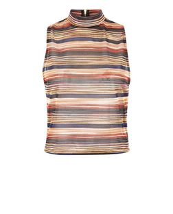 Rust Glitter Stripe High Neck Top  | New Look