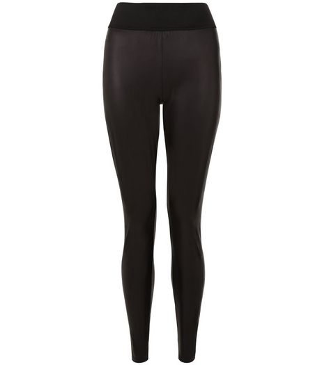 Black Leather-Look High Waisted Leggings  | New Look