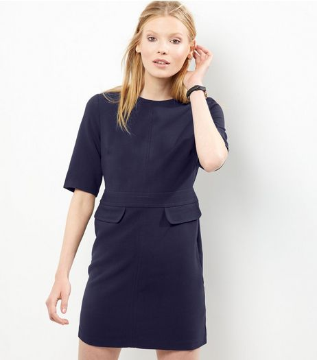 Black Short Sleeve Double Flap Pocket A-Line Dress | New Look