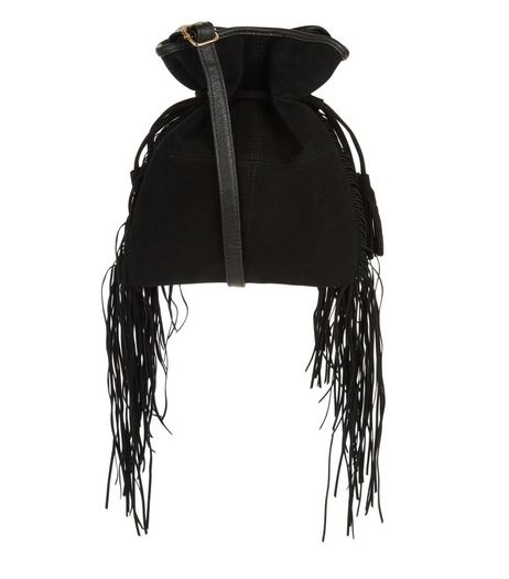 Black Drawstring Tassel Fringe Shoulder Bag | New Look
