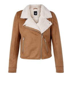 Teens Camel Faux Shearling Lined Biker Jacket  | New Look