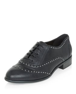 Black Studded Brogues  | New Look
