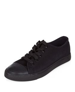 Black Basic Lace Up Plimsolls  | New Look