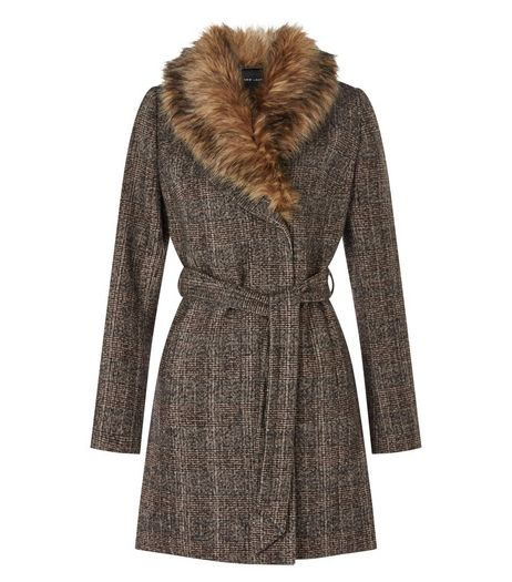 Brown Check Faux Fur Collar Coat  | New Look