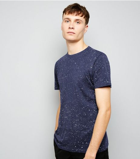 Navy Spray Wash T-Shirt | New Look