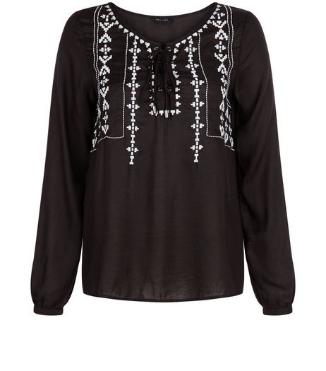 Black Embroidered Lace Up Gypsy Top  | New Look