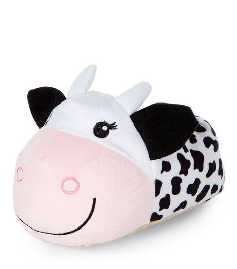 Teens White Cow Slippers | New Look