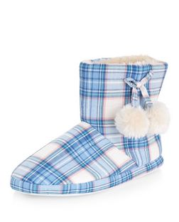Teens Check Pom Pom Slipper Boots  | New Look