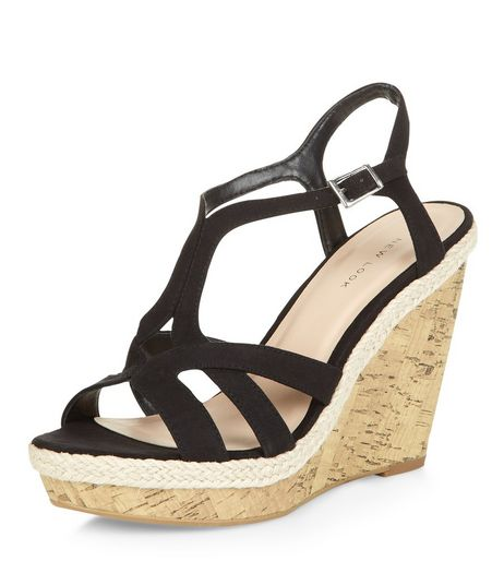 Black Strappy Cork Wedges  | New Look