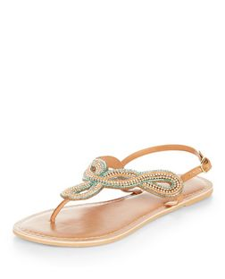 Tan Leather Embellished Twisted Strap T-Bar Sandals | New Look