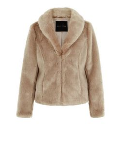 Mink Faux Fur Shawl Collar Coat  | New Look