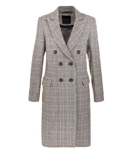 Black Heritage Check Double Breasted Coat  | New Look