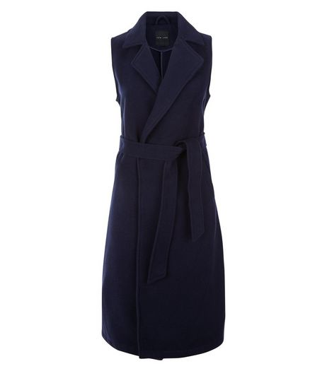 Navy Belted Longline Sleeveless Coat | New Look