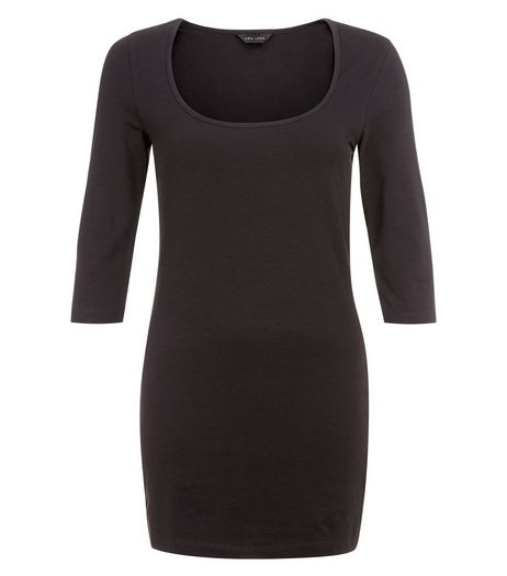 Black 3/4 Sleeve Longline Tunic Top  | New Look