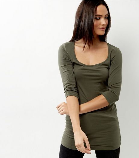 Olive Green Scoop Neck 3/4 Sleeve Longline Top  | New Look