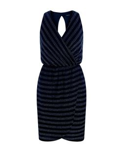 Blue Stripe Metallic Wrap Front Dress | New Look