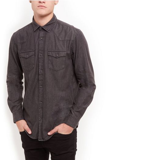 Black Denim Long Sleeve Western Shirt  | New Look