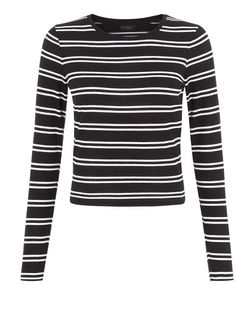 White Ribbed Double Stripe Long Sleeve Top | New Look