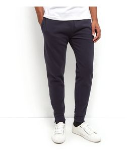 Navy Pique Zip Hem Joggers  | New Look