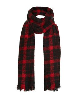 Black and Red Check Scarf  | New Look