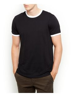 Black Contrast Trim T-Shirt  | New Look