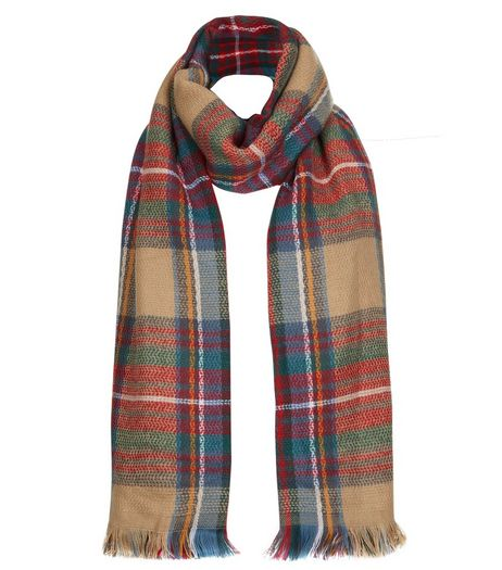 Mink Tartan Large Check Scarf | New Look