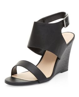 Black Sling Back Wedges  | New Look