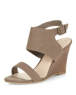 Light Brown Sling Back Wedges  | New Look