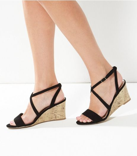 Black Cross Strap Wedges  | New Look