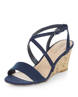Navy Cross Strap Wedges  | New Look