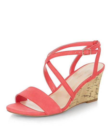 Bright Pink Cross Strap Wedges  | New Look