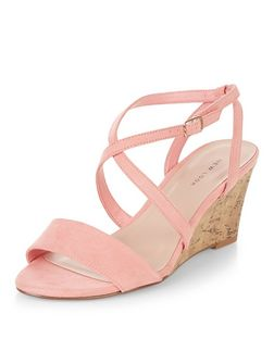 Coral Cross Strap Wedges  | New Look