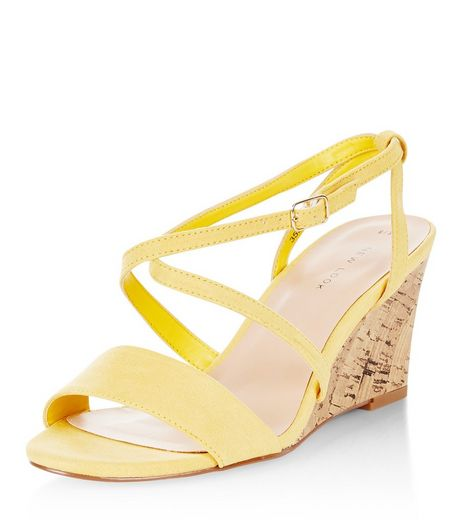 Yellow Cross Strap Wedges | New Look
