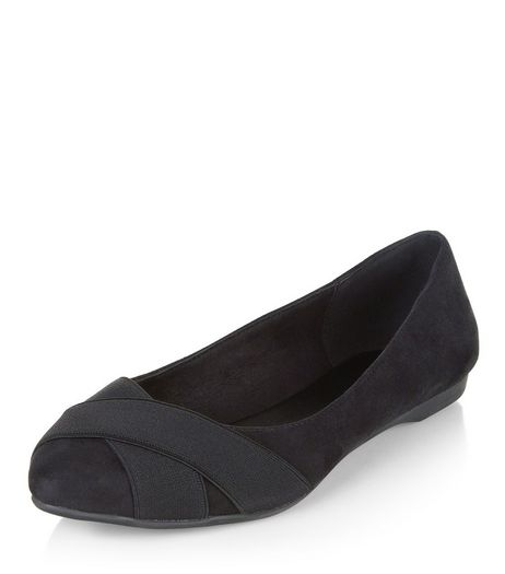 Wide Fit Black Elasticated Trim Pointed Pumps  | New Look