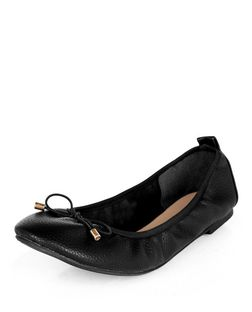 Wide Fit Black Snakeskin Print Elasticated Ballet Pumps  | New Look