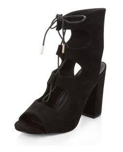 Black Suede Lace Up Block Heels  | New Look