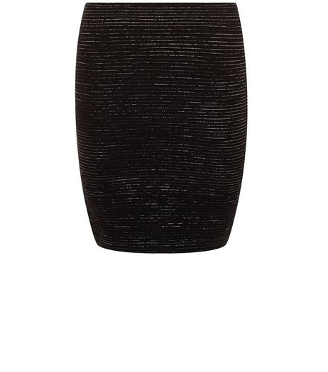 Black Ribbed Metallic Mini Skirt  | New Look