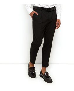 Black Pleat Front Trousers  | New Look