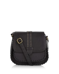 Black Stitch Trim Saddle Bag  | New Look