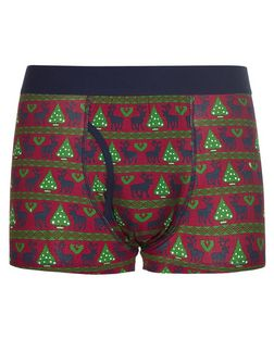 Red Reindeer Fairisle Boxer Shorts  | New Look