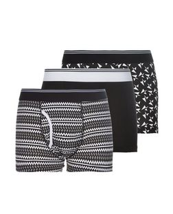 3 Pack Black and White Geo Print Boxers  | New Look