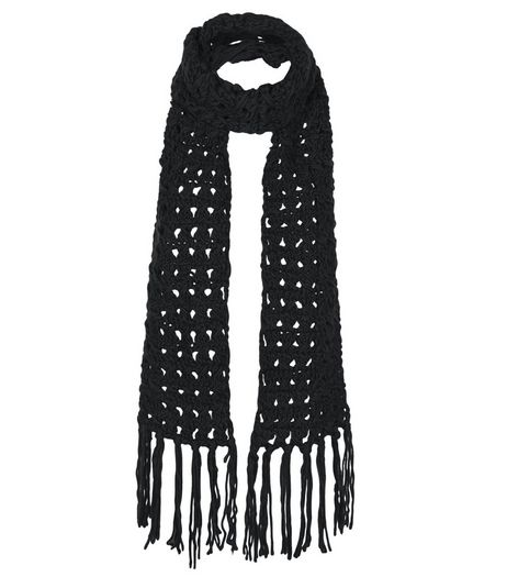 Black Crochet Knit Scarf  | New Look