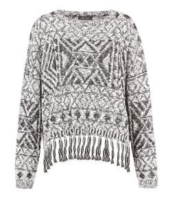 Black Aztec Print Plaited Fringed Jumper | New Look