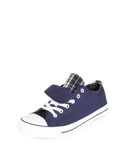 Teens Navy Double Tongue Lace Up Plimsolls  | New Look