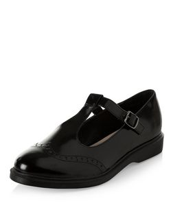 Black Embossed T-Bar Brogues  | New Look