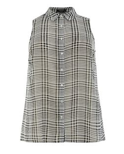 Plus Size Black Chiffon Check Sleeveless Shirt  | New Look