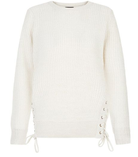 Cream Lace Up Side Jumper  | New Look